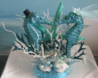 Blue Seahorse Beach Wedding Cake Topper~Starfish Wedding Cake Topper~Seashells~Beach Glass~Coral Reef~Bubbles