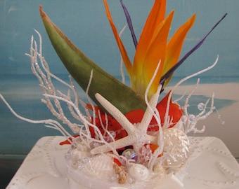 Bird of Paradise Wedding Cake Topper -Seashell Wedding Cake Topper