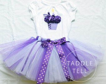 Sale - PURPLICIOUS POLKA DOT Birthday Girl Set - 3d Cupcake Onesie and Tutu Skirt - 1st 2nd 3rd 4th 5th Birthday
