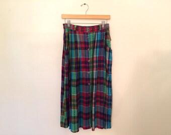 Vintage Plaid Skirt / Med/Large / Midi Skirt