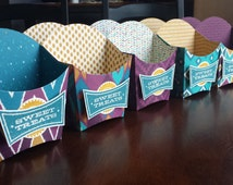 10 Bohemian Party Favors, Boho Party Boxes, Boho Wedding Birthday, Purple Teal Mustard Boho Party Favor, Fry Container Favor, Birthday Teen