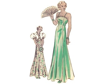 1930s Evening Gown Pattern Hollywood 1148, Plunging Open Back Princess Seam Dress & Puff Sleeve Bolero, Vintage Sewing Pattern Bust 36