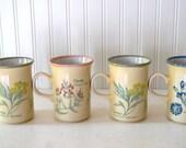 Vintage Churchill England Garden Botanical Herbs Coffee Tea Mugs Set of 4