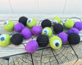 One Eyed Flying Purple People Eater, Halloween felt ball, Garland, Felt Ball Garland, Pom Pom Garland, Bunting Banner, Party Decor