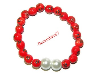 Red And White Bracelet, Beaded Stretch Bracelet