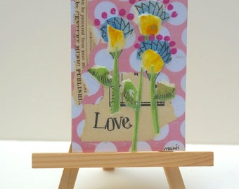 Love Pink Floral Collage, ACEO, with Magnet  by Marji Stevens