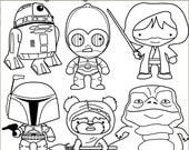 Star Heroes Clip Art Set -Personal and Limited Commercial- Robots, Aliens, Wars Black Line Clipart