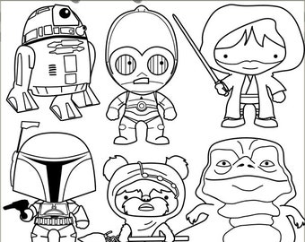 Star Heroes Clipart Set -Personal and Limited Commercial- Robots, Aliens, Wars Black Line Clip art