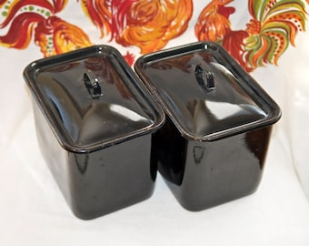 Two vintage enamelware canisters or containers…porcelain enamel storage bins…black enamelware.