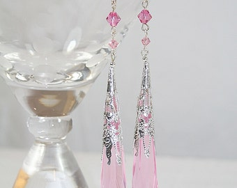 Pink Crystal Glass Chandelier Diva Shoulder Duster Statement Earrings Wedding Any Occasion Handcrafted Diva Earrings