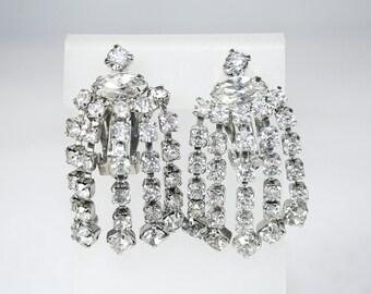Rhinestone Dangle Earrings Vintage Wedding Special Occasion