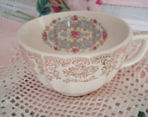 Vintage Teacup Crooksville China Cottage Rose Shabby Chic
