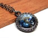 Blue rivoli Swarovski necklace, crystal rivoli sapphire dark blue, gunmetal jewelry