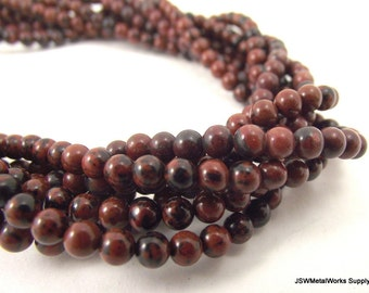 4mm Brecciated Jasper Beads, Round Beads, Whole Strand