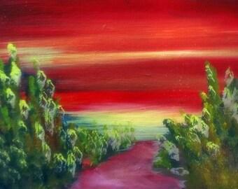Southwest Art Sunrise in the Utah Desert small original oil painting 5 x 7 with frame and COA