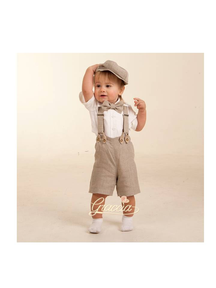 newsboy ring bearer outfit baby boy linen suit baptism shorts. Black Bedroom Furniture Sets. Home Design Ideas