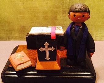 Polymer clay business card holder, preacher,pastor,handmade,pulpit,church,custom business card holder,religion,christ,christian