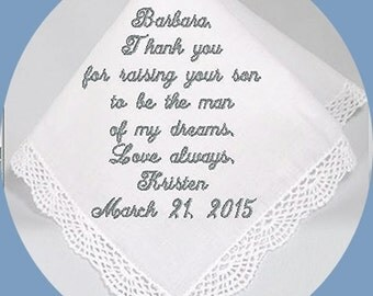 Mother of the  Groom Handkerchief  Heirloom Embroidered, Personalized Hanky, Gift, Handkerchief