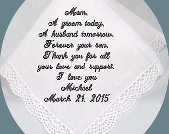 Mother of the  Groom Handkerchief  Heirloom Embroidered, Personalized Hanky, Gift, Handkerchief