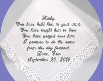 Wedding Handkerchief Mother of the Groom  Heirloom Embroidered, Personalized Hanky, Gift, Handkerchief