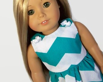 Teal and White Chevron Dress - Made to fit 18 Inch Dolls Like American Girl Doll Clothes
