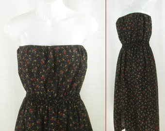 VTG 60s-70s Strapless Cotton-blend Hi Lo ~Gee Wiz~ Tube top Tunic or Mini Dress  XS-S