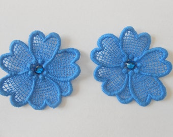 2 flowers in blue lace with Crystal rhinestones