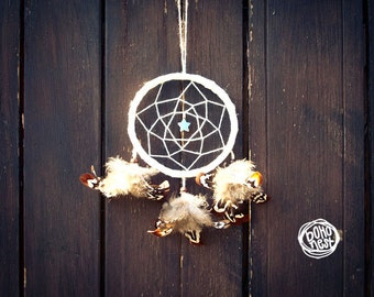 Dream Catcher - Pure Nature - With Small Star Gemstone, Natural Brown Feathers and White Frame - Boho Home Decor, Nursery Mobile