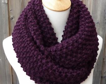 ON SALE - Eggplant Infinity Scarf - Dark Grape Wool Infinity Scarf - Lambswool Scarf - Bulky Knit Scarf - Circle Scarf - Ready to Ship