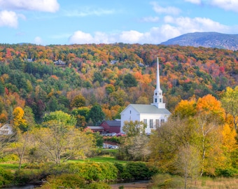 Vermont Foliage Photograph - Stowe Vermont Autumn - Landscape Print - New England Autumn - New England White Church - Foliage Photography