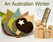 Doll travel toy set / Seasonal story dolls / Dollhouse peg doll Family / Leaf blanket pouches  / Winter Pocket dolls FREE Shipping Australia