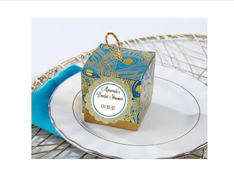 Peacock Favor Box - Peacock Bridal Shower Personalized Favor Boxes - set of 12