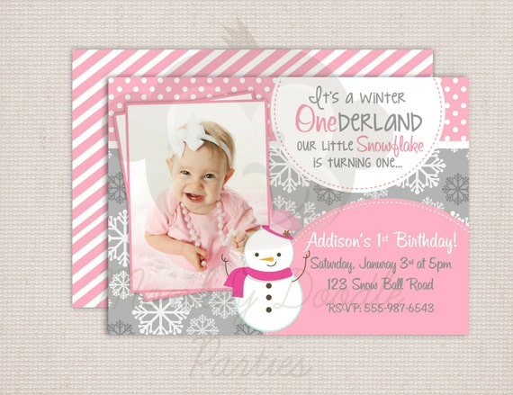 Winter ONEderland Girly Snowman Pink & Grey Birthday Party Printable Invitation Digital File