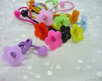 9 pcs Pony Tail Holders with Flower Shape Cabochon Base and bead, 90mm long, assorted color/mixed color