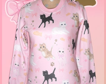 Kawaii Cat Sweater Fairy Kei Cat Sweatshirt Pastel Cat Jumper Kitten Kitty Pattern Cute Size XS Through 3XL