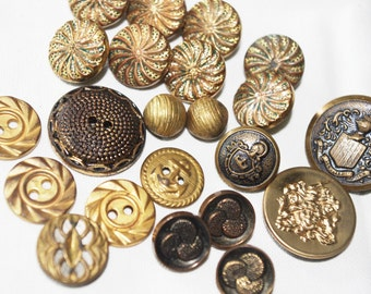 22 Vintage Gold Metal & Plastic Buttons Anchor, Swirls, Coat of Arms 1930s - 1960s
