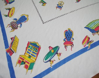 Vintage 1960s Printed Tablecloth: Red Yellow Green Blue Furniture