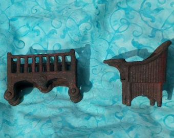 Antique Cast Iron Toys for doll house.Crib and High Chair Doll House Furnature