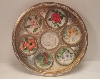 Vintage MONTANA Floral Themed Metal SOUVENIR Serving TRAY with Built-In Cupholders!