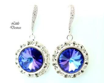 Purple Earrings Heliotrope Earrings Swarovski Rivoli Earrings Blue Earrings Bridesmaid Earrings Bridal Earrings Sparkly Earrings HE34H