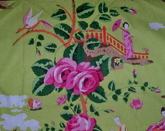 SCALAMANDRE Chinoiserie CHINA ROSE Geisha Toile Fabric 10 yards Pink Orange On Green