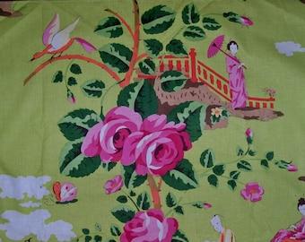 SCALAMANDRE Chinoiserie CHINA ROSE Geisha Toile Fabric 10 yards Pink Orange On Green