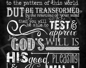 Scripture Art - Romans 12:2 ~ Chalkboard Style