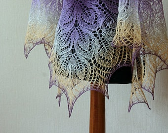 Hand knit wool shawl -   lace shawl in peach-purple colors