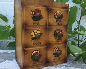 Vintage Wooden Sewing Box Sewing Button Box Trinket Box Sewing Organizer Sewing Cabinet
