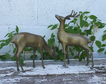 1950's Solid Brass Deer Buck Doe Mid Century Decor Deer Figuring