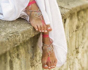 Pink beaded barefoot sandals Beach wedding bottomless sandals Boho footless sandles Bare foot jewelry Bohemian soleless sandal Yoga anklet
