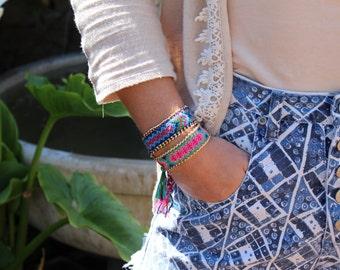 SALE! SALE! Friendship Bracelet with Gold Chain Links.  Multicolor woven bracelet!  Hippie Chic, Bohemian Style.