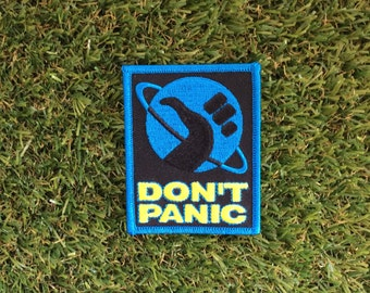 NEW! The Hitchhikers Guide to the Galaxy inspired Don't Panic iron-on fan patch!
