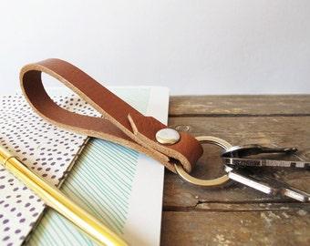 short lanyard, light brown leather keychain, handmade light brown